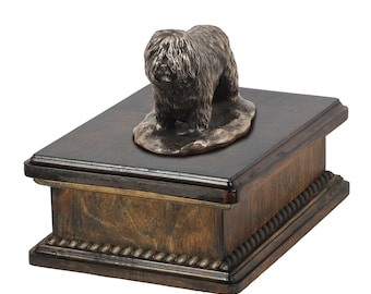 Exclusive Urn for dog's ashes with a Polish Lowland Sheepdog statue, ART-DOG. New model Cremation box, Custom urn.