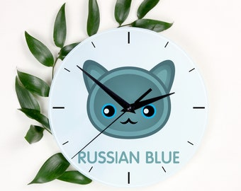 A clock with a Russian Blue cat. A new collection with the cute Art-Dog cat
