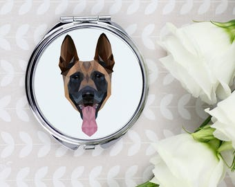A pocket mirror with a Belgian Shepherd, Malinois dog. A new collection with the geometric dog