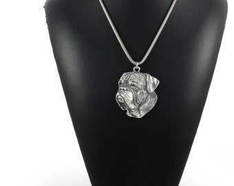 NEW, Dogue de Bordeaux, dog necklace, silver chain 925, limited edition, ArtDog