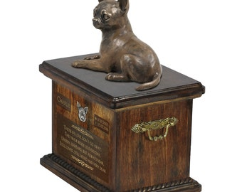 Chihuahua - Exclusive Urn for dog ashes with a statue, relief and inscription. ART-DOG. Cremation box, Custom urn.