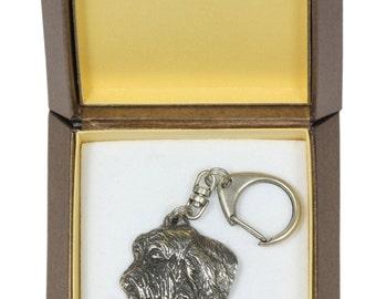 NEW, Basset Vendeen (Petit Basset Griffon Vendéen), dog keyring, key holder, in casket, limited edition, ArtDog . Dog keyring for dog lovers