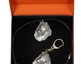 NEW, Rough Collie, dog keyring and necklace in casket, PRESTIGE set, limited edition, ArtDog . Dog keyring for dog lovers