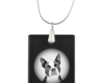 Boston Terrier, Dog Crystal Pendant, SIlver Necklace 925, High Quality, Exceptional Gift, Collection!