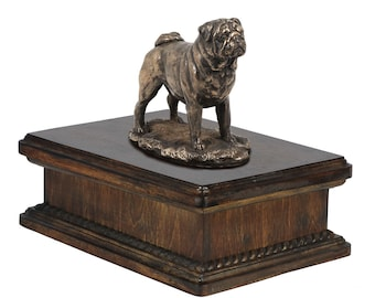 Exclusive Urn for dog's ashes with a Pug statue, ART-DOG. New model Cremation box, Custom urn.