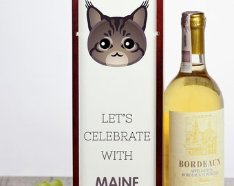 Let's celebrate with Maine Coon cat. A wine box with the cute Art-Dog cat
