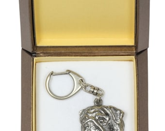 NEW, Pug, dog keyring, key holder, in casket, limited edition, ArtDog . Dog keyring for dog lovers