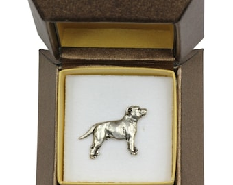 NEW, Staffordshire Bull Terrier (body), dog pin, in casket, limited edition, ArtDog