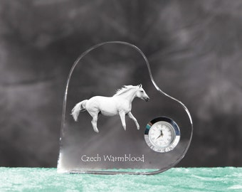 Czech Warmblood- crystal clock in the shape of a heart with the image of a pure-bred horse.