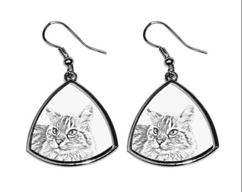 Balinese cat, collection of earrings with images of purebred cats, unique gift. Collection!