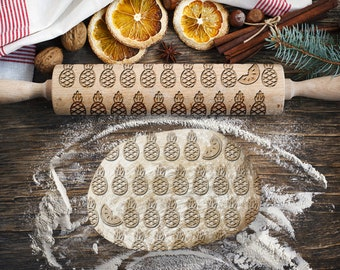 Engraved rolling pin. Original shape. PINEAPPLE pattern. Laser Engraved for cookies. Decorating roller