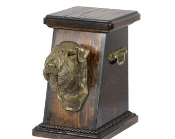 Urn for dog's ashes with a Soft-Coated Wheaten Terrier, ART-DOG Cremation box, Custom urn. Cremation box, Custom urn.
