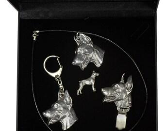 NEW, Dobermann, dog keyring, necklace, pin and clipring in casket, DELUXE set, limited edition, ArtDog . Dog keyring for dog lovers