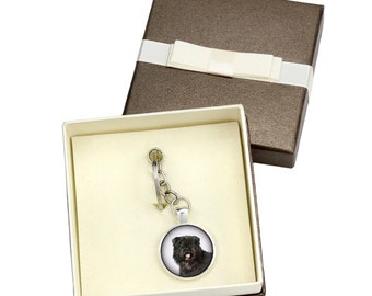 Flandres Cattle Dog. Keyring, keychain with box for dog lovers. Photo jewellery. Men's jewellery. Handmade.
