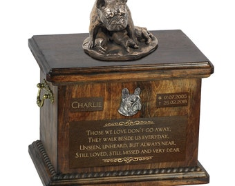 French Bulldog mother - Exclusive Urn for dog ashes with a statue, relief and inscription. ART-DOG. Cremation box, Custom urn.