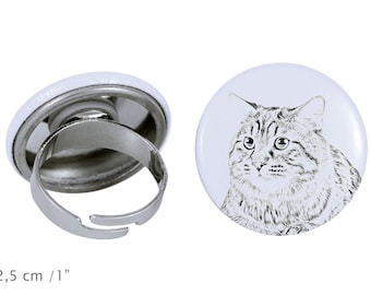 Ring with a cat - Kurilian Bobtail longhaired