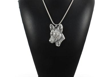 NEW, Basenji, dog necklace, silver cord 925, limited edition, ArtDog