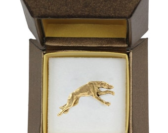 NEW, Grey Hound, dog pin, in casket, gold plated, limited edition, ArtDog