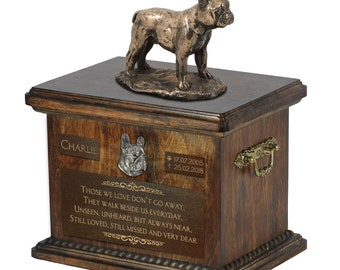 French Bulldog - Exclusive Urn for dog ashes with a statue, relief and inscription. ART-DOG. Cremation box, Custom urn.