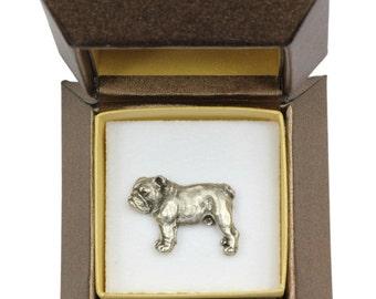 NEW, Bulldog, English Bulldog (body), dog pin, in casket, limited edition, ArtDog