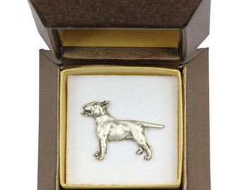 NEW, Bull Terrier (body), dog pin, in casket, limited edition, ArtDog
