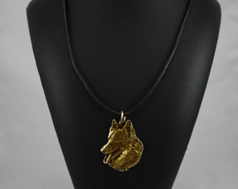 Belgian Shephard, millesimal fineness 999, dog necklace, limited edition, ArtDog