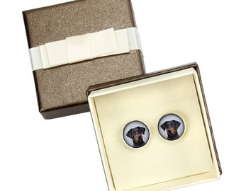 Doberman uncropped. Cufflinks with box for dog lovers. Photo jewellery. Men's jewellery. Handmade