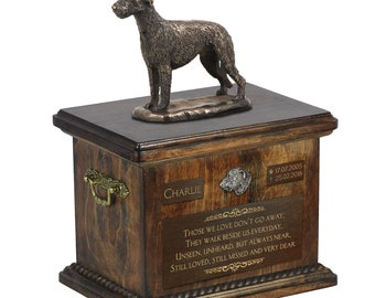 Irish Wolfhound - Exclusive Urn for dog ashes with a statue, relief and inscription. ART-DOG. Cremation box, Custom urn.