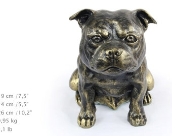 Stafordshire Bull Terrier, dog sitting statue, limited edition, ArtDog