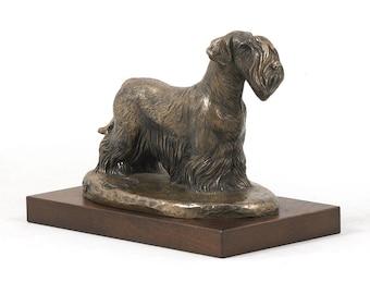 Cesky Terrier, dog wooden base statue, limited edition, ArtDog