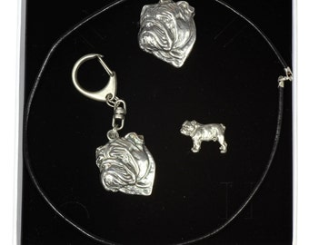 NEW, English Bulldog, dog keyring, necklace and pin in casket, ELEGANCE set, limited edition, ArtDog . Dog keyring for dog lovers