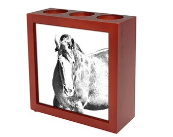 Clydesdale -  Wooden stand for candles/pens with the image of a Horse ! NEW COLLECTION!
