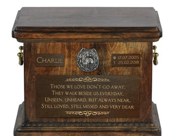Urn for dog's ashes with relief and sentence with your dog name and date - Chow chow, ART-DOG. Cremation box, Custom urn.
