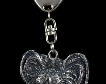 Papillon, dog keyring, keychain, limited edition, ArtDog . Dog keyring for dog lovers