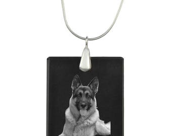 German Shepherd, Dog Crystal Pendant, SIlver Necklace 925, High Quality, Exceptional Gift, Collection!
