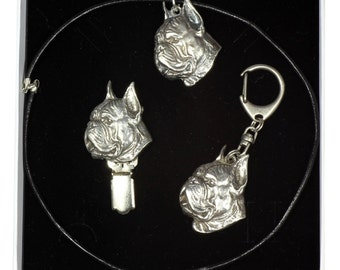 NEW, Boxer, dog keyring, necklace and clipring in casket, ELEGANCE set, limited edition, ArtDog . Dog keyring for dog lovers
