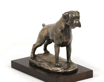 Boxer (uncropped), dog wooden base statue, limited edition, ArtDog
