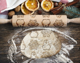 PENGUIN. Engraved rolling pin for Cookies, Embossing Rollingpin, Laser Engraved Rolling-pin. Decorating Roller