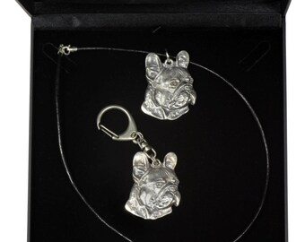 NEW, French Bulldog (right-oriented) , dog keyring and necklace in casket, DELUXE set, limited edition, ArtDog . Dog keyring for dog lovers