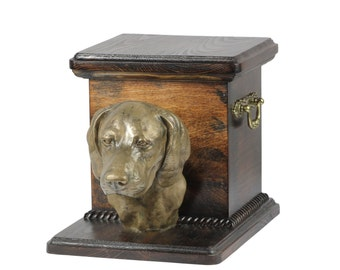 Urn for dog's ashes with a standing statue -Weimaraner, ART-DOG Cremation box, Custom urn. Cremation box, Custom urn.