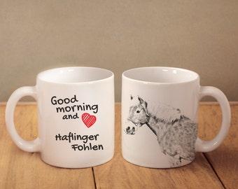 "Boulonnais - mug with a horse and description:""Good morning and love..."" High quality ceramic mug. Dog Lover Gift, Christmas Gift"