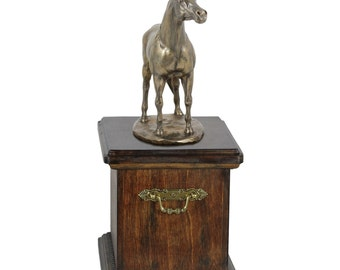 Urn for horse ashes with a standing statue - Arabian horse, ART-DOG Cremation box, Custom urn.