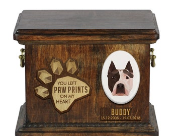 Urn for dog ashes with ceramic plate and sentence - Geometric American Staffordshire Terrier, ART-DOG. Cremation box, Custom urn.