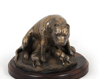 American Staffordshire Terrier (mama), dog wooden base statue, limited edition, ArtDog