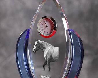 Spanish-Norman horse-   crystal clock in the shape of a wings with the image of a pure-bred horse.