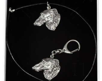 NEW, Borzoi, Russian Wolfhound, dog keyring and necklace in casket, ELEGANCE set, limited edition, ArtDog . Dog keyring for dog lovers