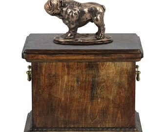 Urn for dog's ashes with a English Bulldog statue, ART-DOG Cremation box, Custom urn.