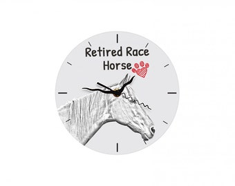 Retired Race Horse, Free standing MDF floor clock with an image of a horse.