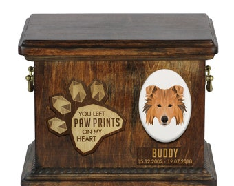 Urn for dog ashes with ceramic plate and sentence - Geometric Collie, ART-DOG. Cremation box, Custom urn.
