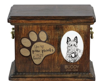 Urn for dog's ashes with ceramic plate and description - Scottish Terrier, ART-DOG Cremation box, Custom urn.